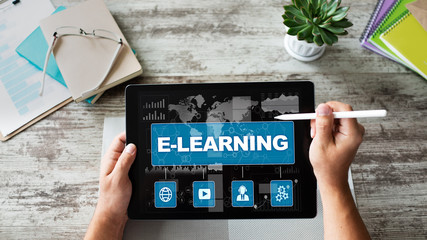 E-learning, online education concept on device screen.