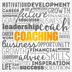 COACHING word cloud collage, business concept background