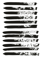 Calligraphy Paint Brush Lines High Detail Abstract Vector Background Set 141