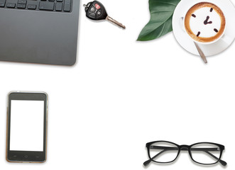 Top views of Desk with glasses, paper, coffee and cactus business office table concept