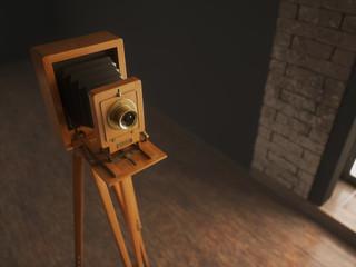 Vintage camera 3d illustration
