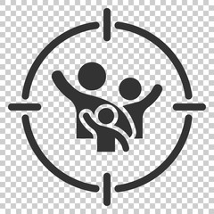Target audience icon in flat style. Focus on people vector illustration on isolated background. Human resources business concept.
