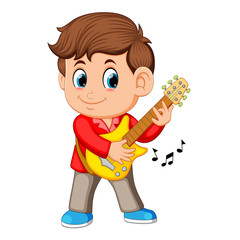 A young boy sings and plays on the electric guitar