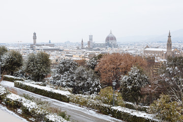 Panoramic view of Florence in Italy in the winter with snow