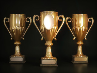 Champions cups on white background 3D illustration