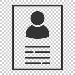 Resume icon in flat style. Contract document vector illustration on isolated background. Resume business concept.