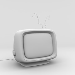 White vintage tv receiver background texture  3d illustration