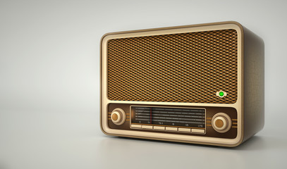 Old radio receiver on white  background 3d illustration