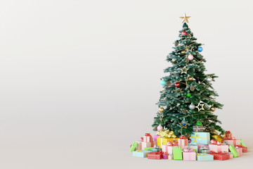 Christmas tree with colorful gift box on white background. 3d rendering