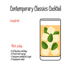 Mint julip alcoholic cocktail vector illustration recipe isolated