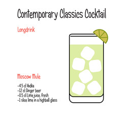 Moscow mule alcoholic cocktail vector illustration recipe isolated