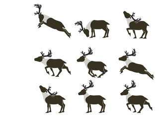 Set of simple reindeer icon on transparent background