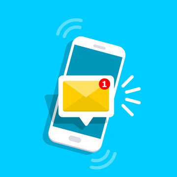 Message icon 3d. Reminder on screen smartphone. New email notification. Sms message concept in flat style. Isolated vector illustration.
