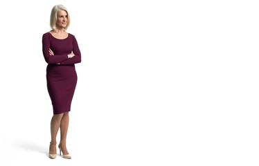 Full length of a senior blonde woman. Isolated Wall mural