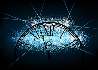 New Year Glittering Background with a Silhouette of a Clock Face on Black - Festive Illustration for You, Vector