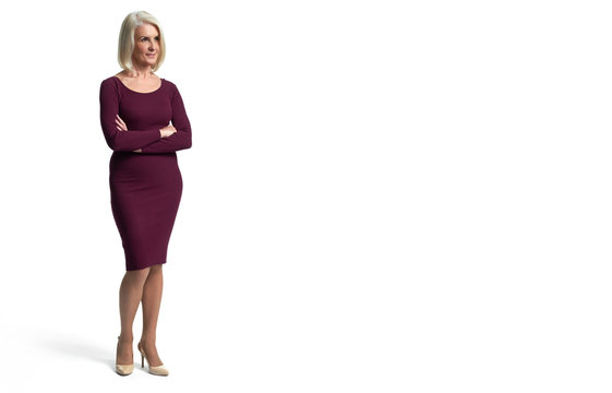 Full length of a senior blonde woman. Isolated