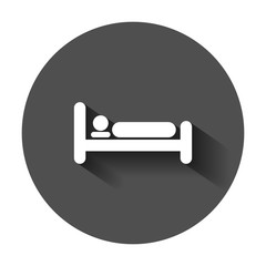 Bed icon in flat style. Sleep bedroom vector illustration with long shadow. Relax sofa business concept.