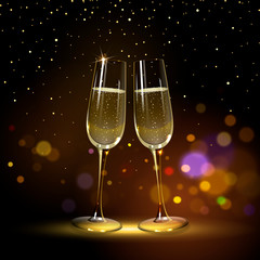 Congratulatory Background with Champagne Glasses