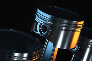 3d illustration of piston on a dark background