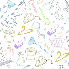 Hand drawn cleaning tools. Doodle elements. Colored graphic vector seamless pattern