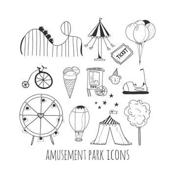Hand drawn amusement park elements. Black graphic vector set
