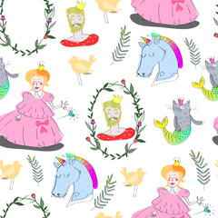 Hand drawn fairy tale elements. Vector seamless pattern