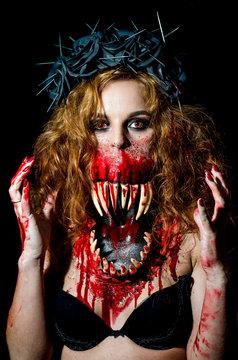Girl with Milenas makeup. Mortal kombat. Halloween.
