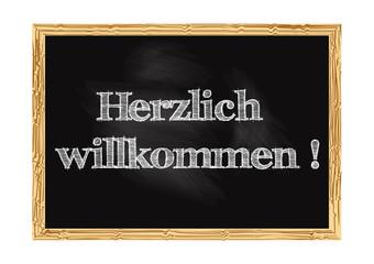 Hrzlich willkommen - Welcome in German blackboard notice Vector illustration
