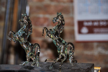 Glass horses in the workshop in Venice