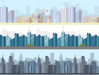 Vector drawing image collection of cityscape sets