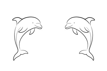 A hand drawn vector cartoon illustration of twin dolphins facing each other