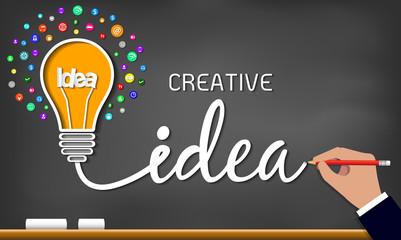 Creative idea light bulb icon. spark success in business inspiration drawing on blackboard background. vector illustration. EPS 10