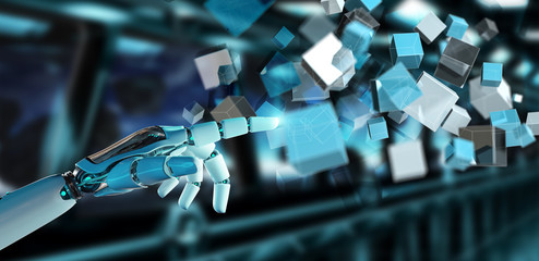 White cyborg hand using blue digital cube structure 3D rendering