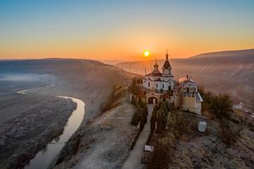 Fotobehang Chocoladebruin Old Orhei Moldova sunrise panoramic view