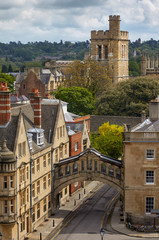 The view from the cupola of Sheldonian Theatre across the central Oxford. Oxford University. England