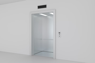 Modern elevator with opened metal doors. 3d rendering.