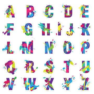 Vector Trendy letters alphabet painted by color paint splashes font.