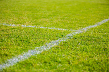 Green grass football field with white chalk line