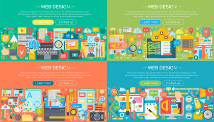 Web design horisontal flat concept design banners set. Mobile phone apps services and apps, web design, application development, visual programming vector illustration.