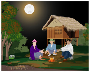 three people with fire on full moon day in winter vector design