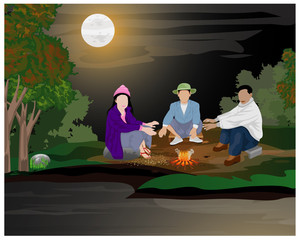 three people with fire under full moon day in winter vector design