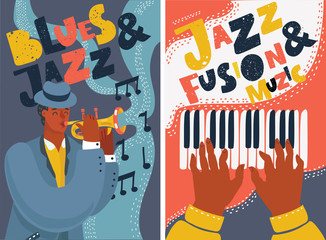 Jazz and blues music festival colorful posters