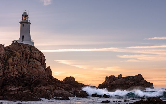 Coastal sunset at Corbiere, Jersey, Channel Islands