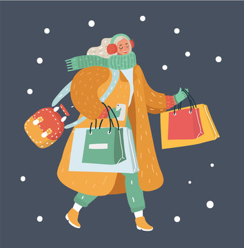 Modern winter woman with shopping bags