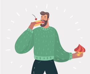 Man eating cake pie