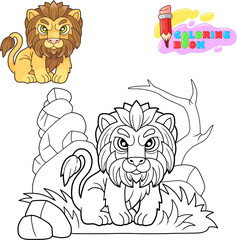 cartoon cute lion, funny illustration, coloring book