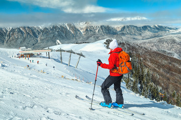 Wonderful ski resort with skiers, Prahova valley, Carpathians, Azuga, Romania