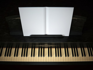 Black piano with opened music book 3d illustration