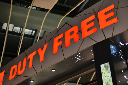 sign of Duty Free shop in airport