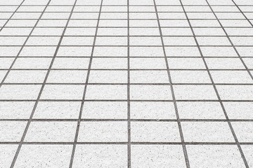 Perspective of white brick floor pattern and background